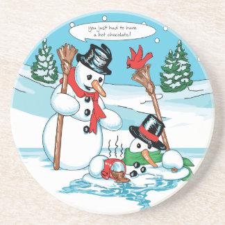 ココアの漫画が付いているおもしろいな雪だるま コースター