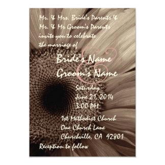 ココアガーベラのデイジーの結婚式招待状 カード