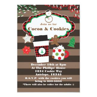 ココア及びクッキーのクリスマスの休日のパーティの招待状 カード