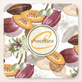 ココア豆、チョコレート花、性質のギフト スクエアペーパーコースター