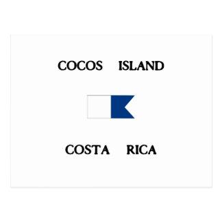 ココス群島のコスタリカのアルファ飛び込みの旗 ポストカード