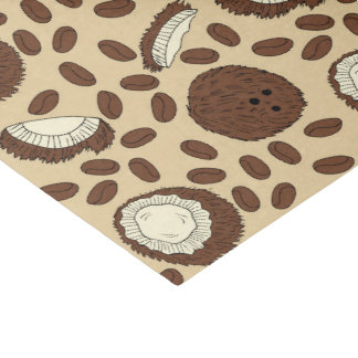 ココナッツコーヒー豆パターンブラウンタンのクリーム 薄葉紙
