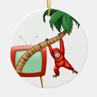 ココナッツ枝でつるすUrangutan セラミックオーナメント