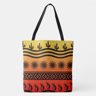 ココペリのグラデーションな日没のサボテンパターン トートバッグ