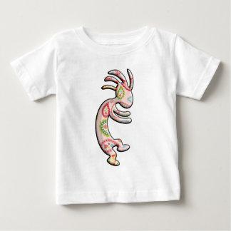 ココペリのピンクの緑のペイズリーのテーマ ベビーTシャツ