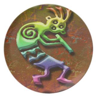 ココペリのホピー族の種族のネイティブアメリカンのフルートのプレート パーティー皿