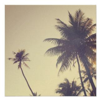 ココヤシの木の粋なヒップスターのDesaturated夏 ポスター