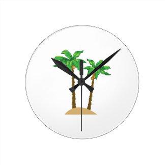 ココヤシの木 ラウンド壁時計
