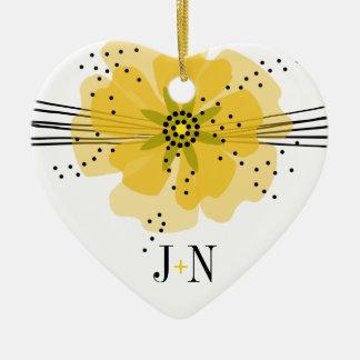 コショウのケシの写真-黄色 陶器製ハート型オーナメント