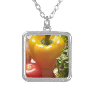 コショウのトマトの野菜のレタスの健康な食糧 シルバープレートネックレス