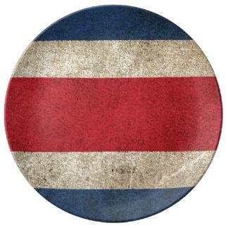 コスタリカのヴィンテージの動揺してな旗 磁器プレート