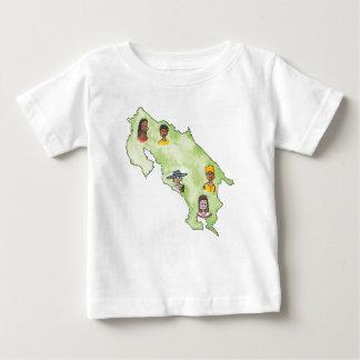 コスタリカの乳児Tの地図 ベビーTシャツ