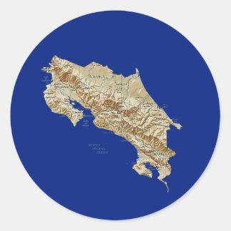 コスタリカの地図のステッカー ラウンドシール