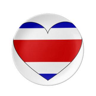 コスタリカの旗のハート 磁器プレート