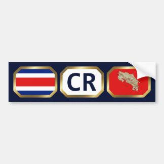 コスタリカの旗の地図コードバンパーステッカー バンパーステッカー