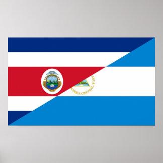コスタリカニカラグアの半分の旗の記号 ポスター