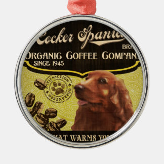 コッカースパニエルのブランド- Organic Coffee Company メタルオーナメント
