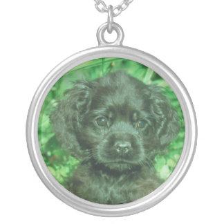 コッカースパニエルの子犬の黒のネックレス シルバープレートネックレス