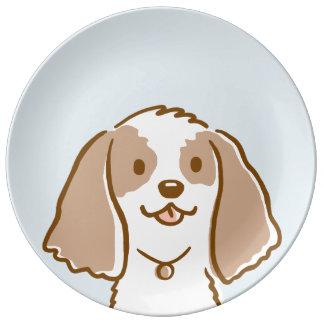 コッカースパニエルの漫画犬 磁器プレート