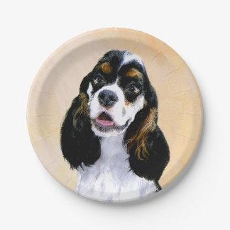 コッカースパニエル(Parti)の絵画-元の犬の芸術 ペーパープレート