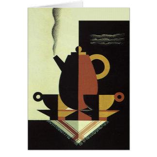 コップが付いているヴィンテージの飲み物の飲料のコーヒーポット カード
