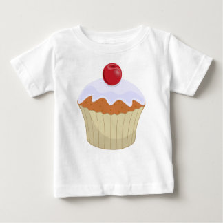コップのケーキのさくらんぼのベビーのワイシャツ ベビーTシャツ
