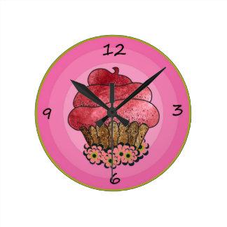 コップのケーキの時計 ラウンド壁時計