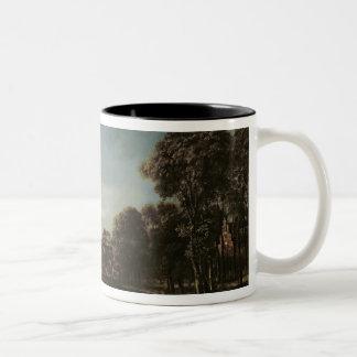 コテージとの月明りの川の景色 ツートーンマグカップ
