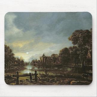 コテージとの月明りの川の景色 マウスパッド