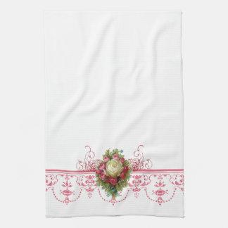 コテージのシックなピンクの花の台所タオル キッチンタオル