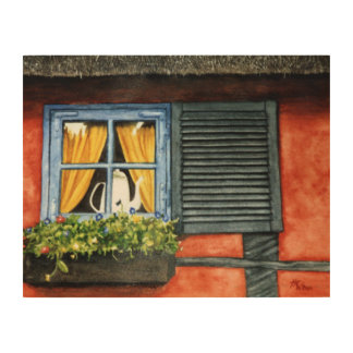 コテージの窓 ウッドウォールアート