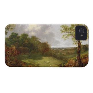 コテージ、ヒツジおよびRecliの樹木が茂った景色 Case-Mate iPhone 4 ケース