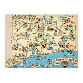 コネチカットのおもしろいなヴィンテージの地図 ポストカード
