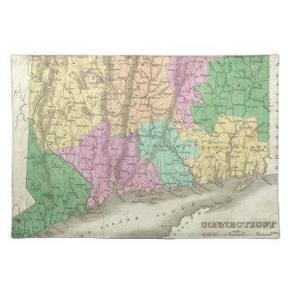 コネチカット(1827年)のヴィンテージの地図 ランチョンマット