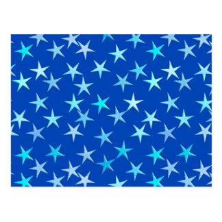 コバルトで淡いブルーサテンの星 ポストカード