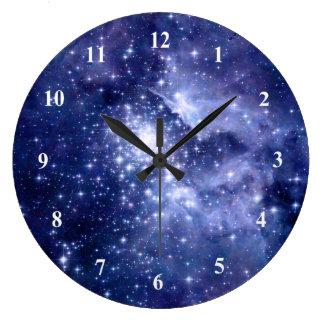 コバルトの夢の星の銀河系の宇宙の宇宙 ラージ壁時計
