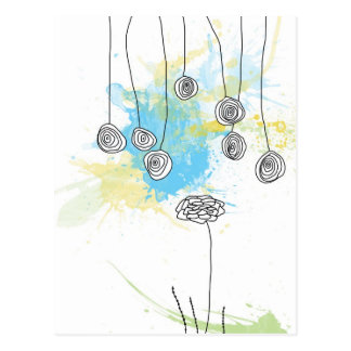 コバルトの花柄のしぶき郵便はがき ポストカード