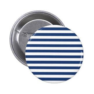 コバルトブルーおよび横の白のストライプパターン 5.7CM 丸型バッジ
