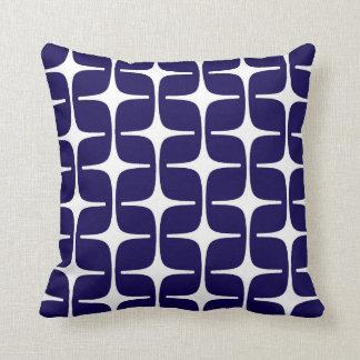 コバルトブルーおよび白のモダンな長方形パターン クッション
