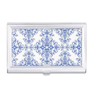 コバルトブルーおよび白の花のダマスク織のスタイルパターン 名刺入れ