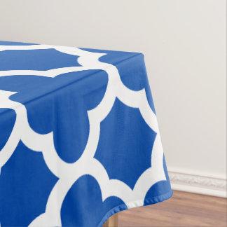コバルトブルーのクラシックなクローバーのテーブルクロス テーブルクロス