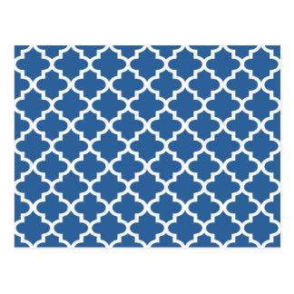 コバルトブルーのモロッコのタイルの格子垣 ポストカード