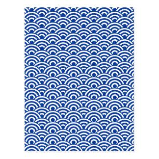 コバルトブルーの白く日本のな波パターン ポストカード
