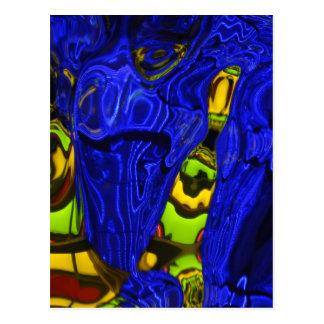 コバルトブルーの緑の黄色の抽象芸術のネオン芸術のデザイン ポストカード