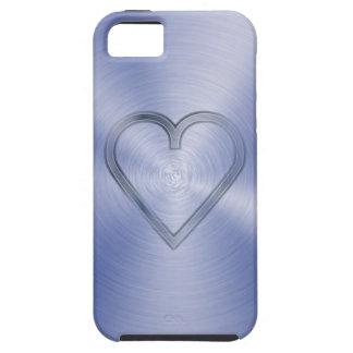 コバルトブルーの鋼板で刻まれるハート iPhone SE/5/5s ケース