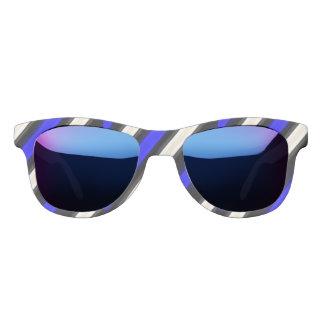 コバルトブルーは、白黒対角線縞で飾ります サングラス