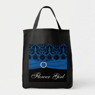 コバルトブルー、黒いダマスク織のフラワー・ガールのトートバック トートバッグ