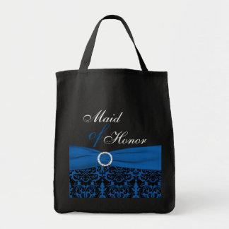 コバルトブルー、黒いダマスク織のメイド・オブ・オーナー(花嫁付き添い人)のトートバック トートバッグ