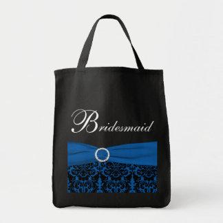 コバルトブルー、黒いダマスク織の新婦付添人のトートバック トートバッグ