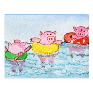 コブタが浮かぶ時-水泳のブタ ポストカード